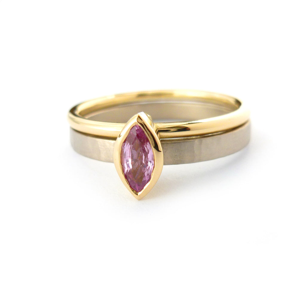 18k Gold and Pink Sapphire Ring (nrg10) - Sue Lane Contemporary Jewellery - 1