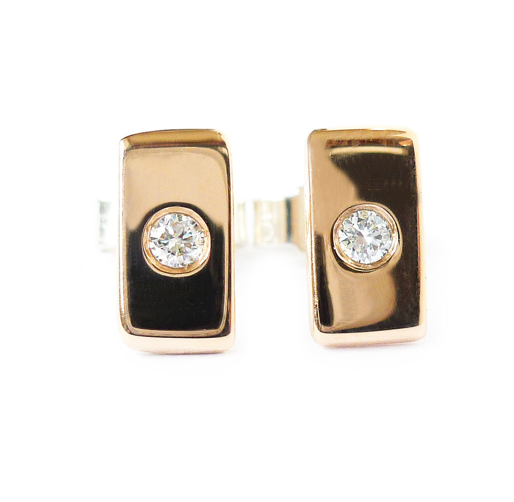 18k rose gold and diamond earrings (gr21a) - Sue Lane Contemporary Jewellery - 4