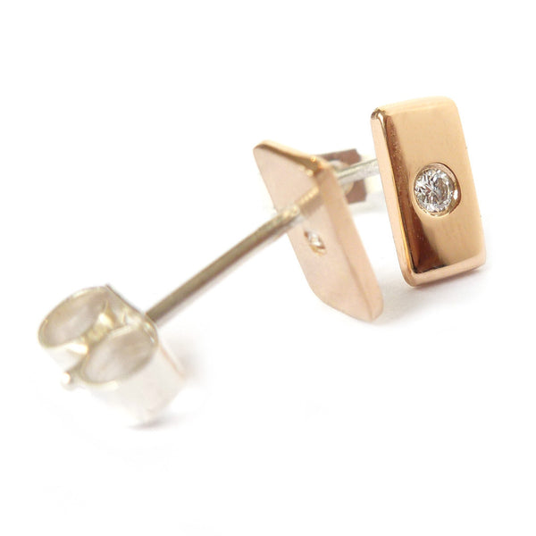18k rose gold and diamond earrings (gr21a) - Sue Lane Contemporary Jewellery - 1