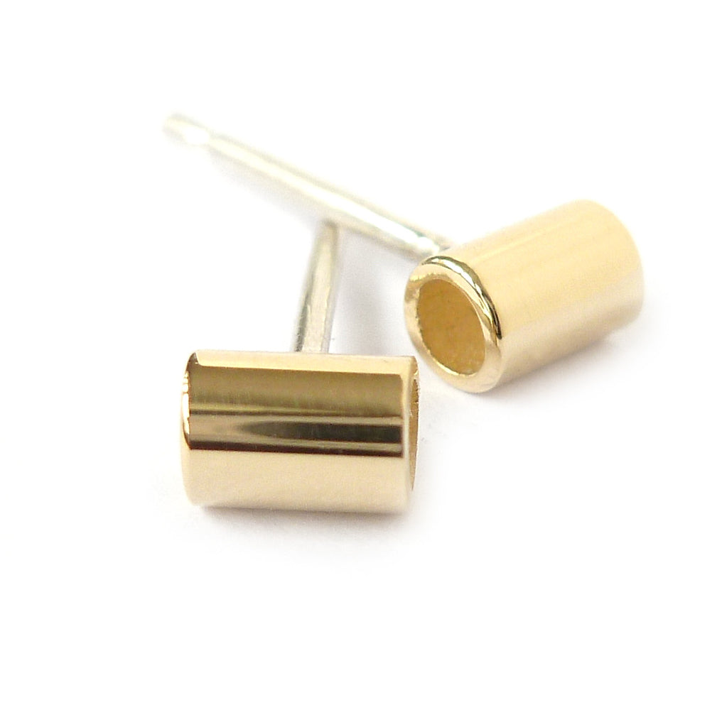 Contemporary and modern 18k yellow gold stud earrings handmade by designer maker Sue Lane jewellery in UK
