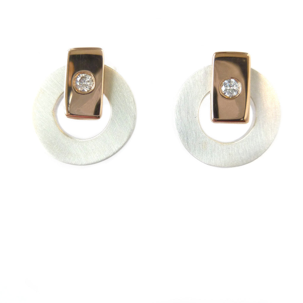 Silver, 18k rose gold and diamond earrings (gr20) - Sue Lane Contemporary Jewellery - 2