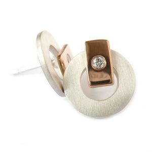 Silver, 18k rose gold and diamond earrings (gr20) - Sue Lane Contemporary Jewellery - 1