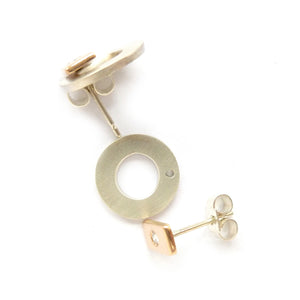 Silver, 18k rose gold and diamond earrings (gr20) - Sue Lane Contemporary Jewellery - 3