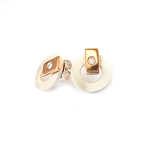Silver, 18k rose gold and diamond earrings (gr20) - Sue Lane Contemporary Jewellery - 4