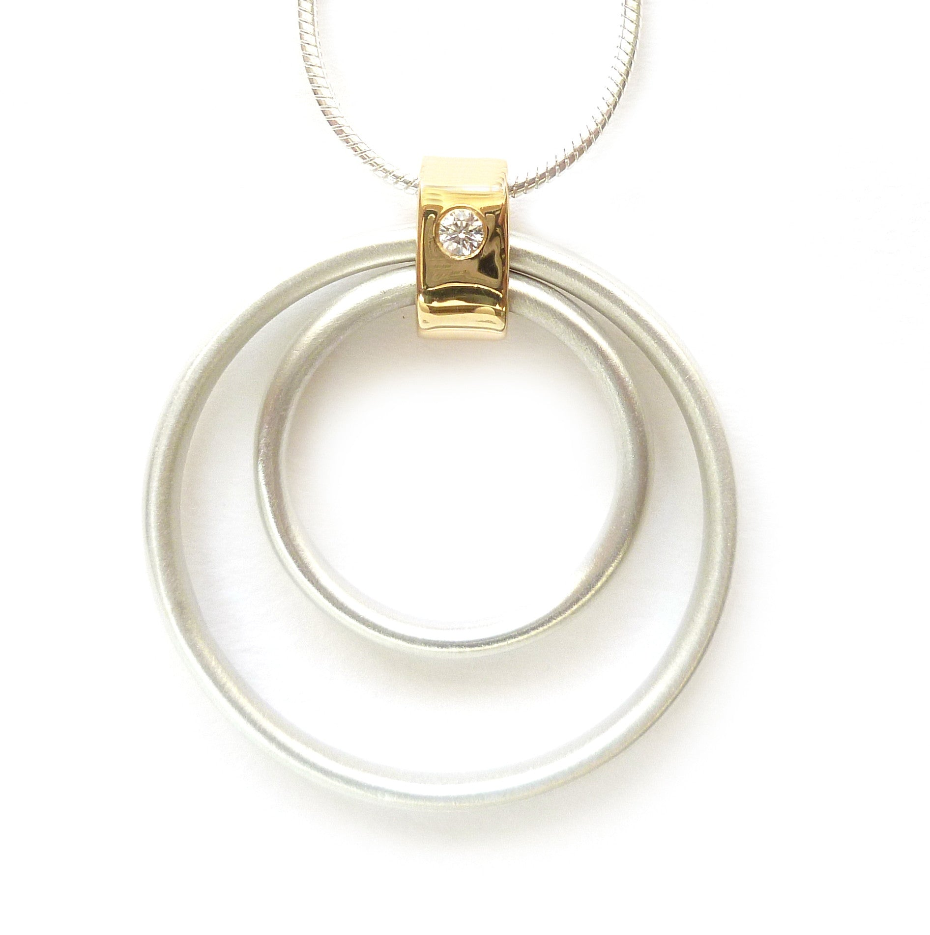 Contemporary Silvers: Contemporary Gold, Silver And Diamond Necklace (cir06