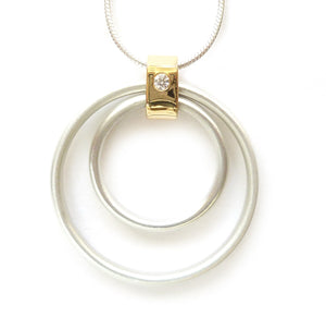 Contemporary Gold, Silver and Diamond Necklace (cir06) - Sue Lane Contemporary Jewellery - 1