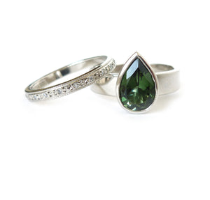 Unique, Bespoke and Contemporary Palladium, Diamond and  Green Tourmaline wedding and engagement ring handmade by Sue Lane. A modern and classic ring.