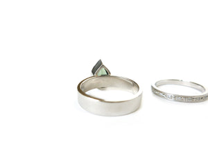 Contemporary Palladium, Diamond and  Green Tourmaline ring, a modern  wedding and engagement ring handmade by Sue Lane. A modern and classic ring.