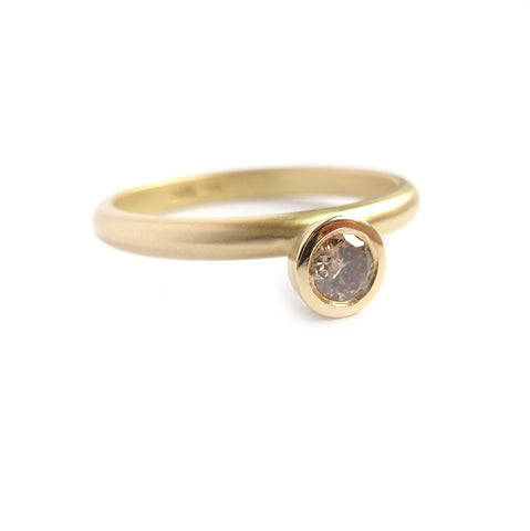 Contemporary, modern, bespoke yellow gold and cognac brown diamond with a matt brushed finish. Perfect unique engagement or wedding ring by Sue Lane, UK,