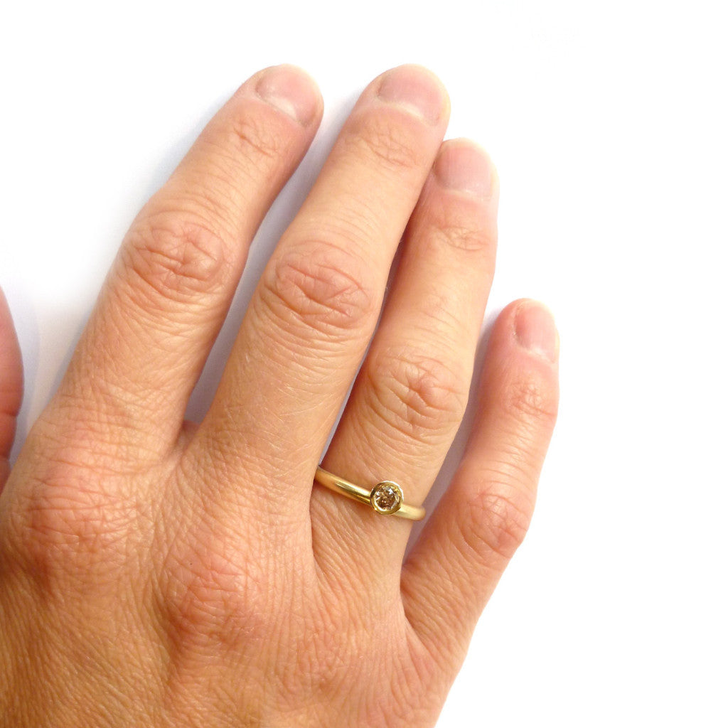 Contemporary, Modern, Bespoke Yellow Gold And Cognac Brown Diamond With  A Matt Brushed Finish