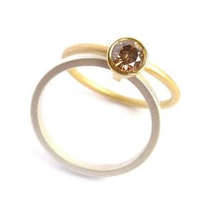 Unusual, unique, bespoke and modern two band silver, gold and brown diamond ring with a brushed finish. Handmade by Sue Lane Contemporary Jewellery, UK