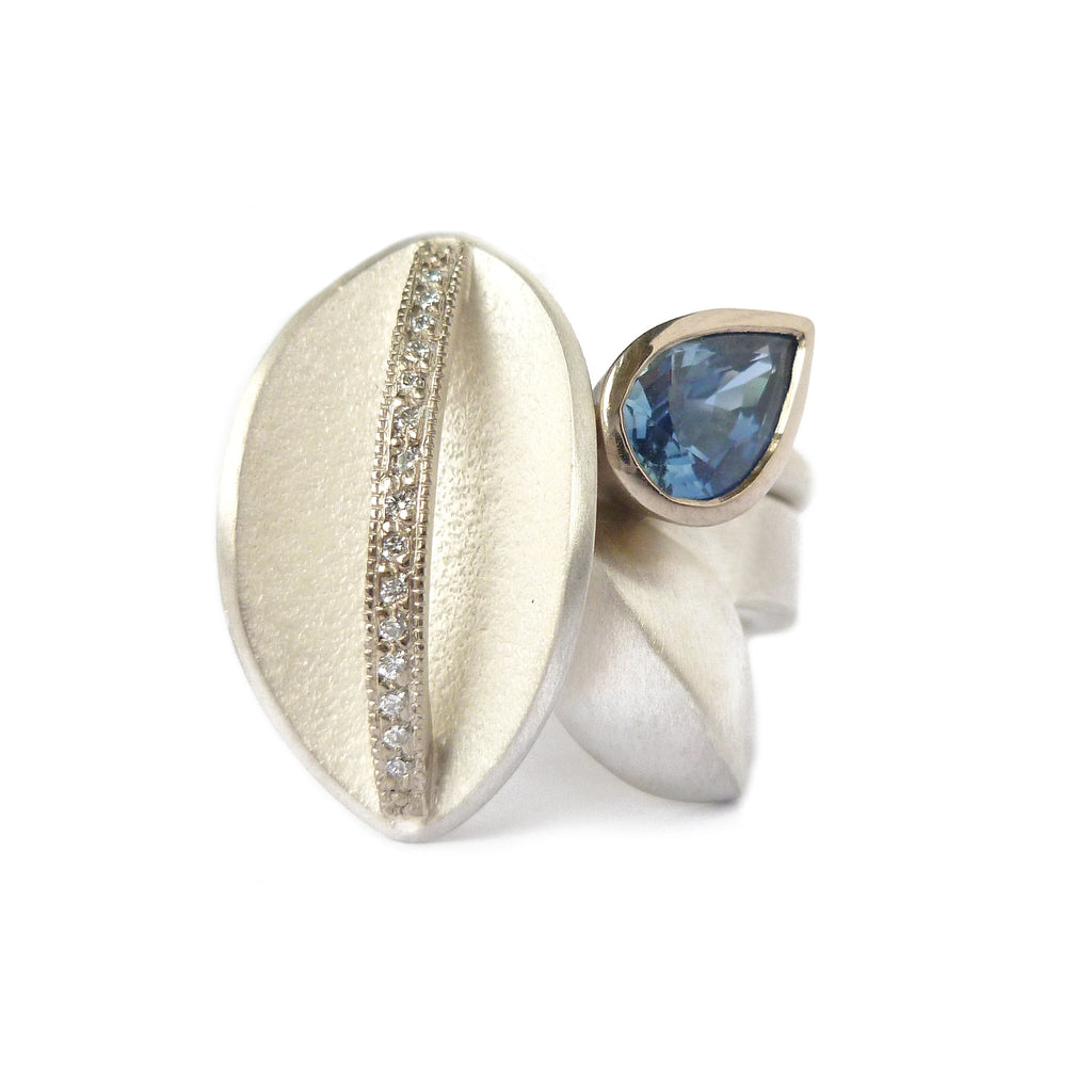 Contemporary, modern and bespoke statement silver, gold, cornflower blue sapphire and diamond bold stacking ring, handmade by designer maker Sue Lane Jewellery