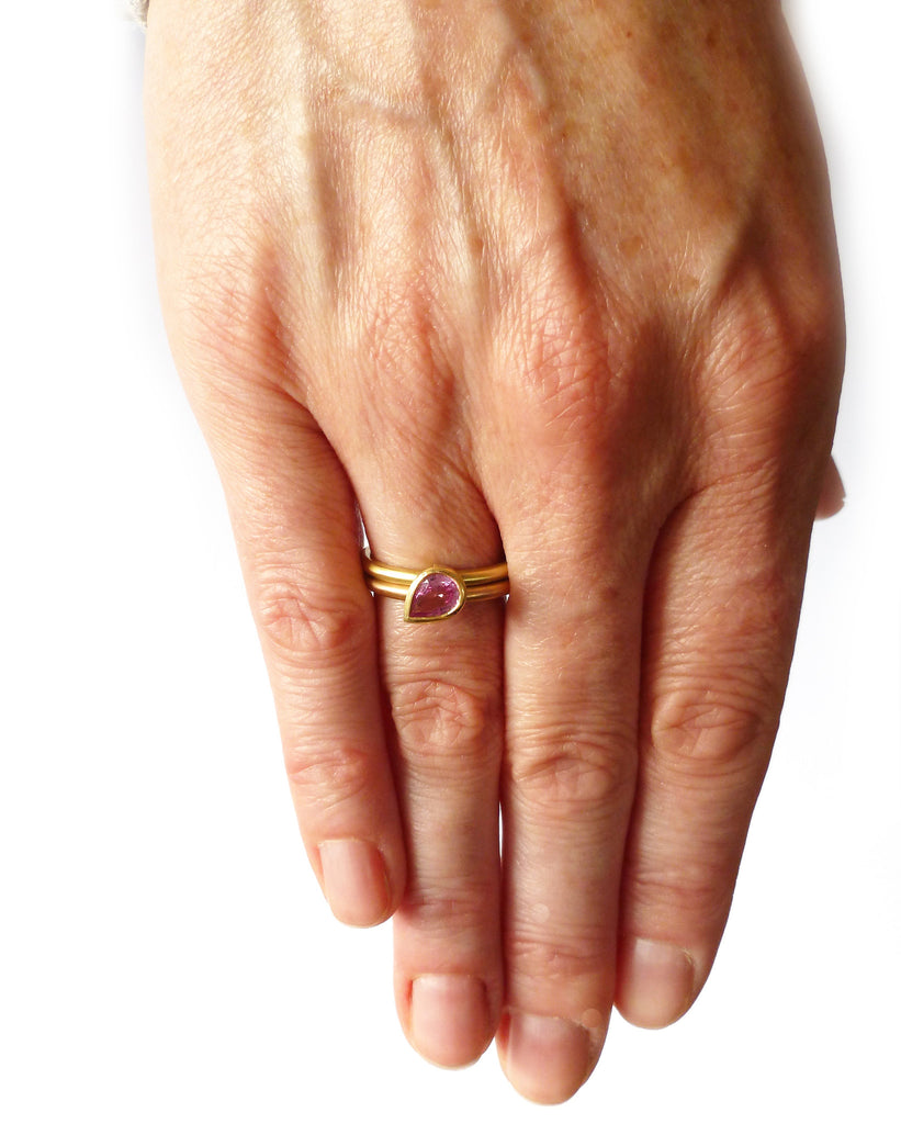 18k Rose and Yellow Gold and Pink Sapphire Ring (OF37a) - Sue Lane Contemporary Jewellery - 3