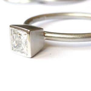Contemporary, bespoke and modern platinum and square diamond engagement  ring, brushed finish. Handmade by Sue Lane UK