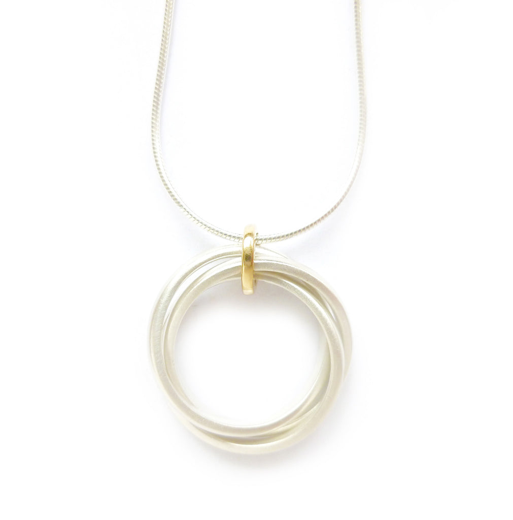 New Circle Silver Necklace (cir04n) - Sue Lane Contemporary Jewellery - 2