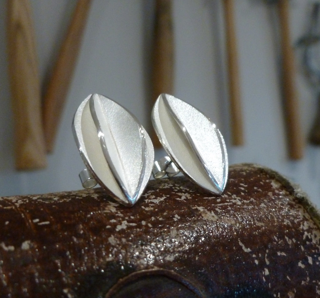 Medium Silver Fold Earrings (fd-02) - Sue Lane Contemporary Jewellery - 2