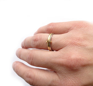 18k gold two band ring (rd18) - Sue Lane Contemporary Jewellery - 4