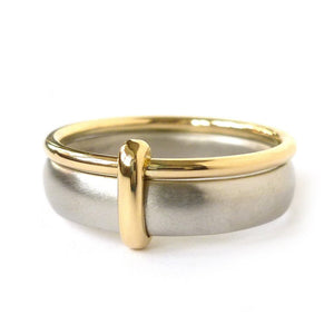 Contemporary, bespoke and modern platinum and gold men's/woman's wedding ring, commitment ring, eternity ring, matt brushed finish. Handmade by Sue Lane UK. Multi band ring or interlocking ring, sometimes called double band ring too.
