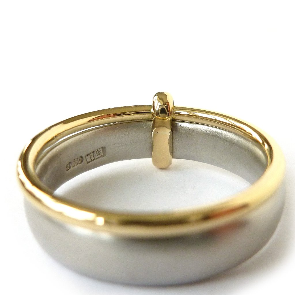 Palladium and 18k gold two band ring pdr7