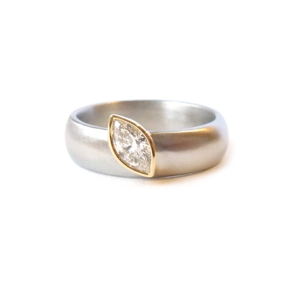 Unusual, unique, bespoke and modern marquise diamond and palladium designer engagement ring, Handmade by Sue Lane Contemporay Jewellery in Herefordshire, UK