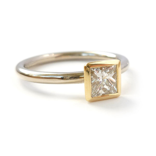 Contemporary, bespoke and modern 18k yellow gold square princess diamond engagement ring, commitment ring, matt brushed finish. Handmade by Sue Lane