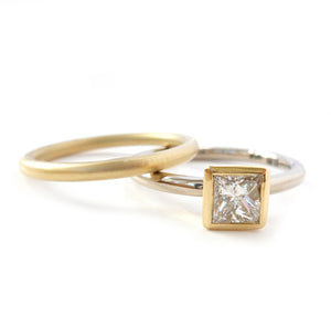 Contemporary, bespoke and modern 18k yellow gold square princess diamond engagement ring, commitment ring, matt brushed finish. Handmade by Sue Lane in Herefordshire, UK