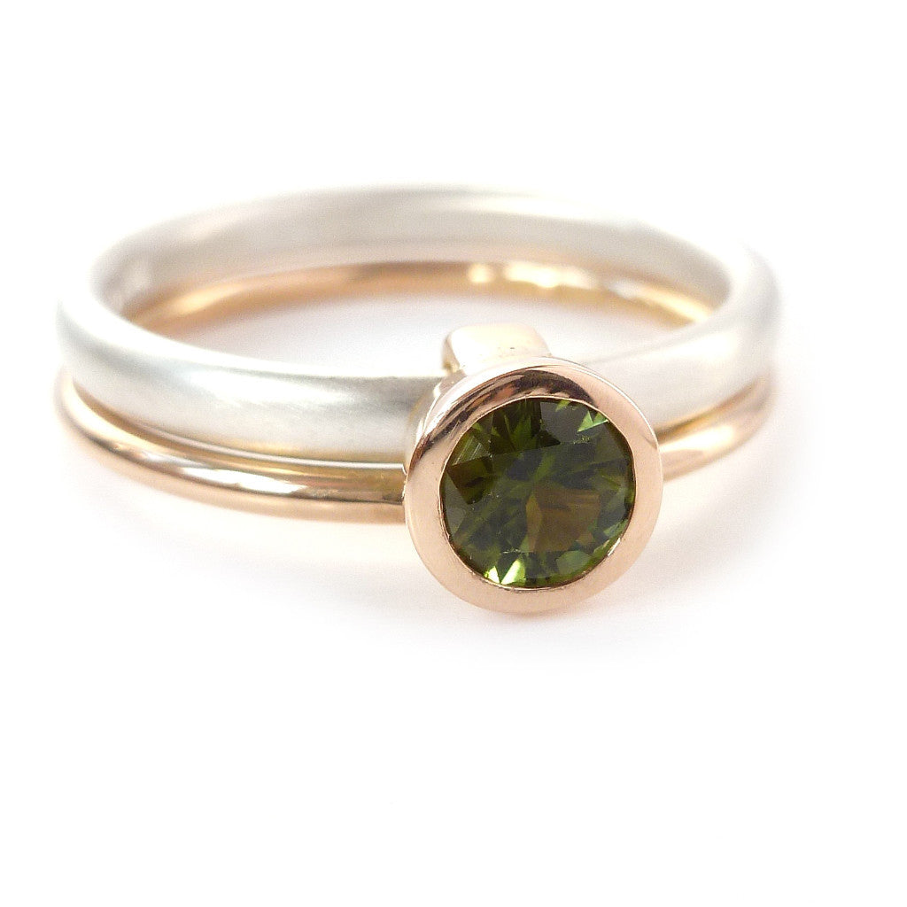 Bespoke and modern silver and rose gold tourmaline stacking ring, handmade by designer maker Sue Lane Jewellery. A unique feature dress ring.