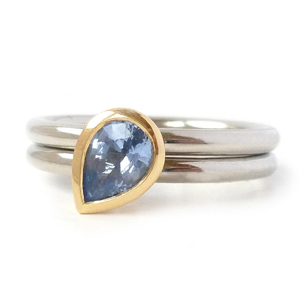 Unusual, unique, bespoke and modern palladium and cornflower blue sapphire wedding ring, eternity ring, engagement ring, stacking ring, Handmade by Sue Lane in Herefordshire,