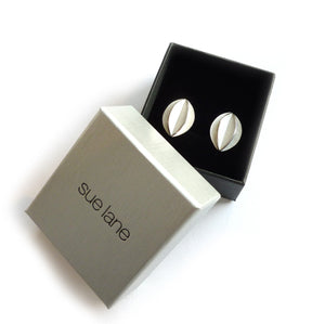 Unusual, unique, bespoke and modern men's silver cufflinks. Handmade by Sue Lane Jewellery in Herefordshire, UK. Unique wedding gift