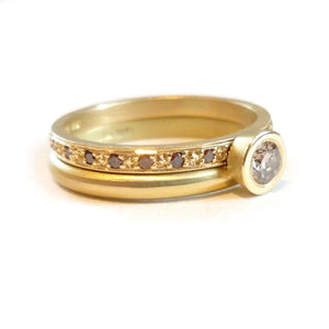 Gold and pave set champagne diamond classic eternity wedding ring