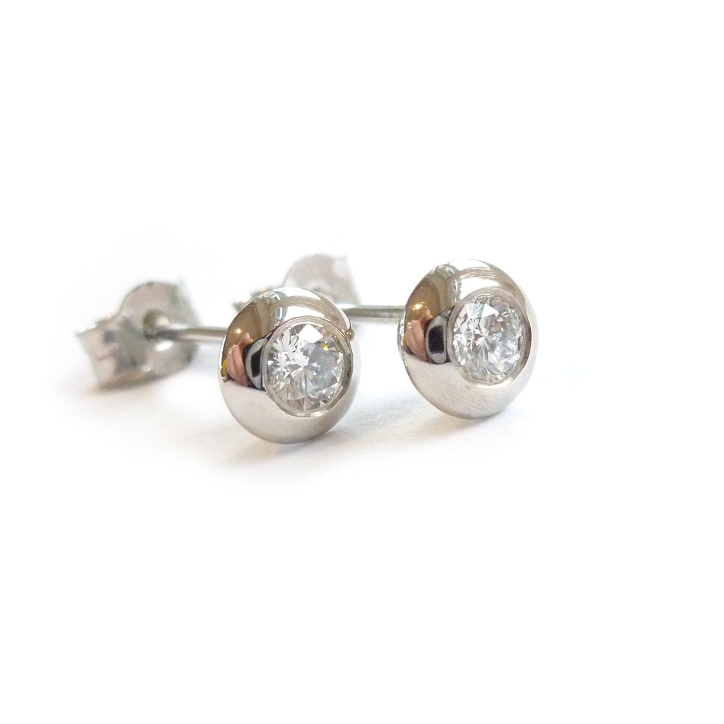 Contemporary and modern diamond stud earrings, perfect for everyday. Handmade by designer maker Sue Lane UK. Can be made to order with 4mm, 5mm or 6mm diamonds