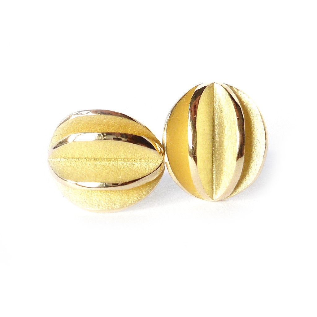 90d7c9bd6 Contemporary modern and unique handmade 18k yellow gold stud earrings, matt  brushed finish with polished