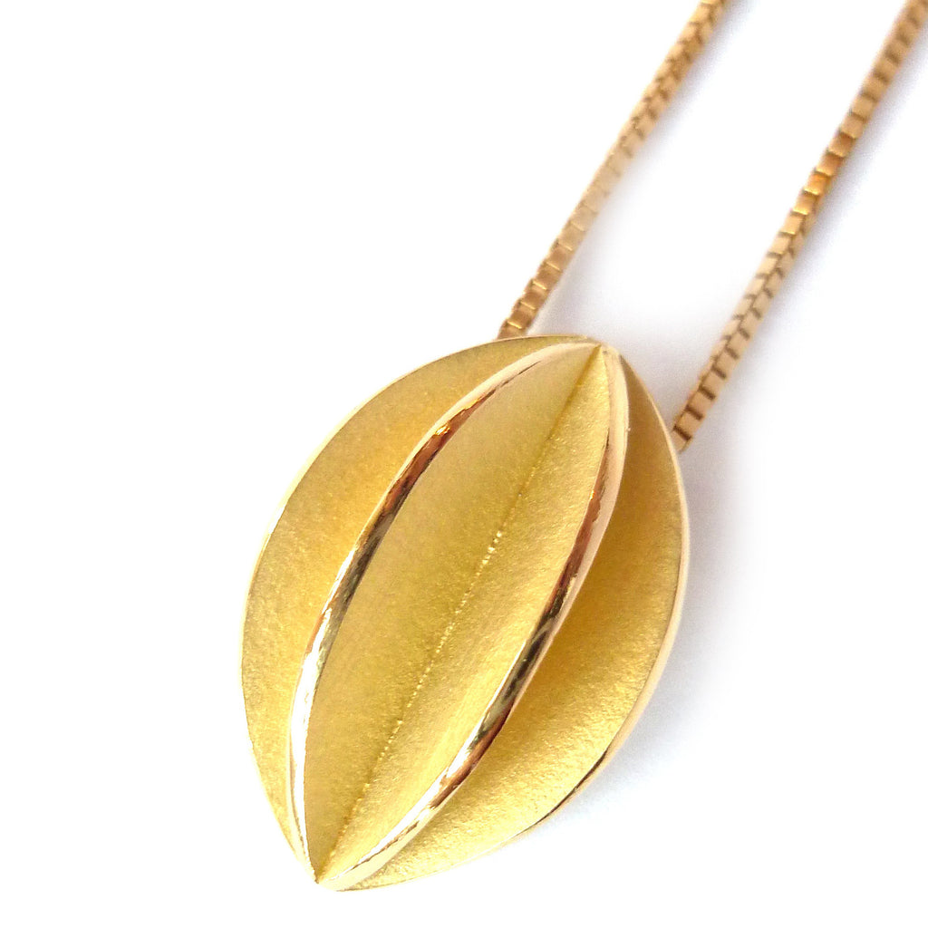 simple but modern brushed 18ct gold leaf necklace by designer make Sue Lane UK