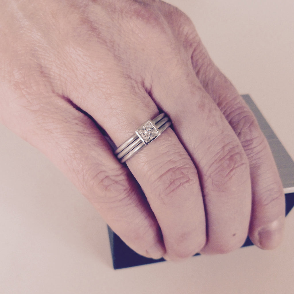 Contemporary, bespoke and modern platinum diamond engagement / wedding stacking ring set, square diamond, matt brushed finish. Handmade by Sue Lane UK