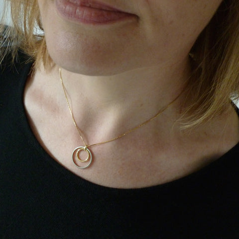 Circle Palladium and Gold Necklace (cir12) - Sue Lane Contemporary Jewellery