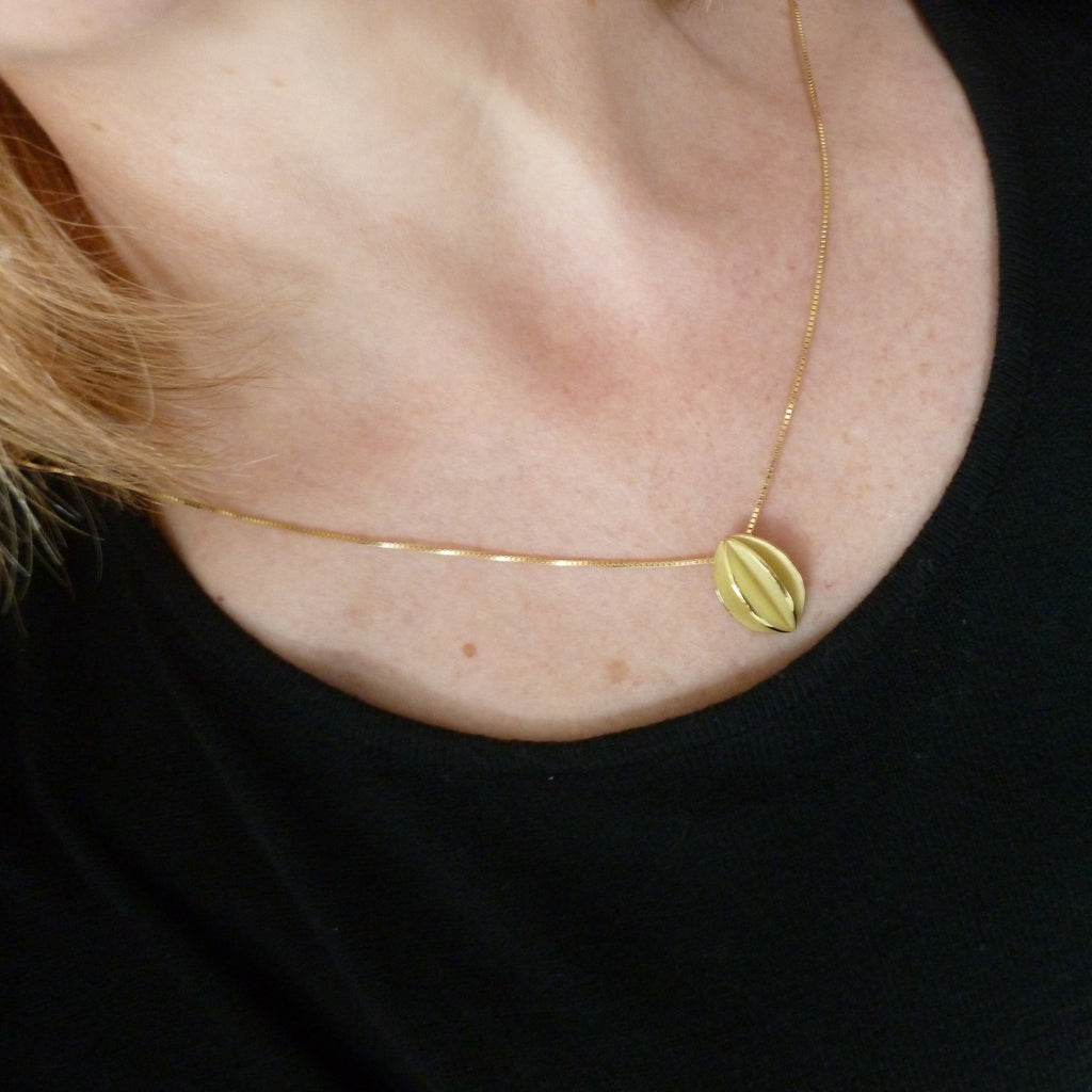 Contemporary modern and unique handmade 18k yellow gold pendant necklace, matt brushed finish  with polished detail. Perfect everyday necklace,