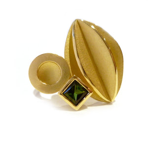 Bold and modern statement gold dress ring with bottle green tourmaline handmade by contemporary designer maker Sue Lane Jewellery