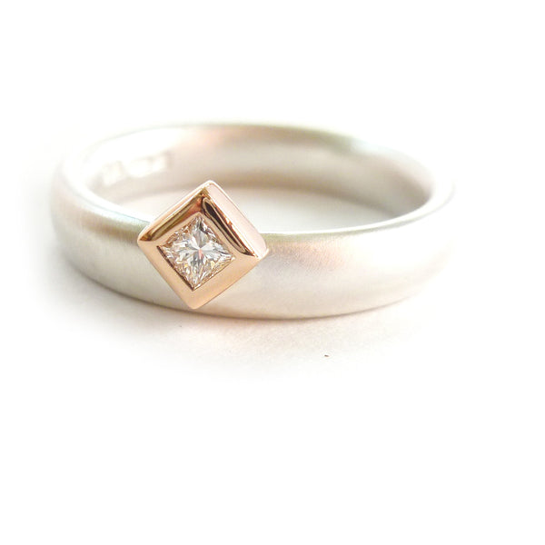 Contemporary, bespoke and modern 18k rose red gold, silver square diamond engagement ring, dress ring, eternity ring, handmade by Sue Lane Jewellery