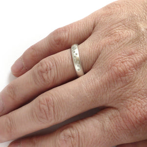 Unusual, unique, bespoke and modern silver and 12 diamond dress ring, wedding ring, eternity ring, engagement brushed finish. Handmade by Sue Lane Jewellery UK