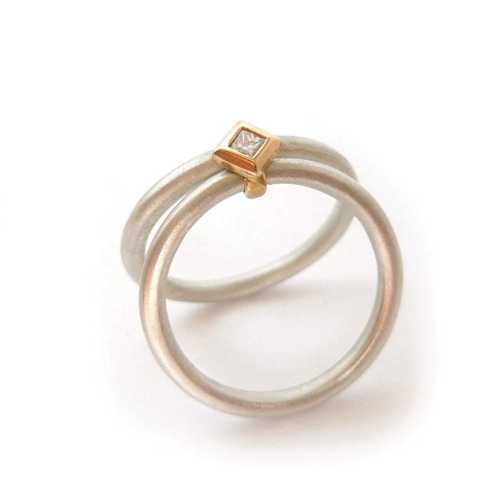 modern bespoke silver and rose gold and diamond stacking ring handmade by designer maker sue lane