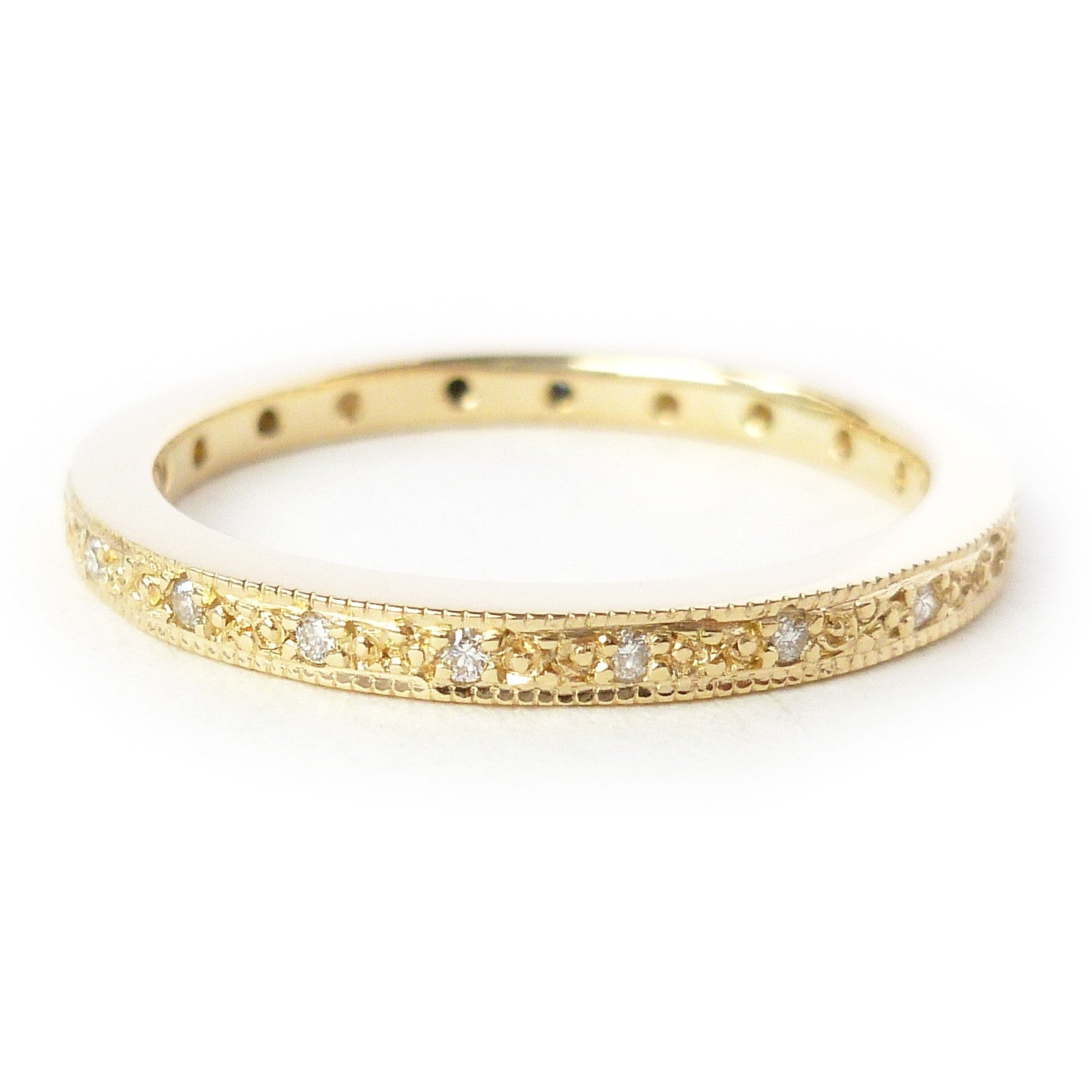 18ct gold and pave set diamond classic eternity ring