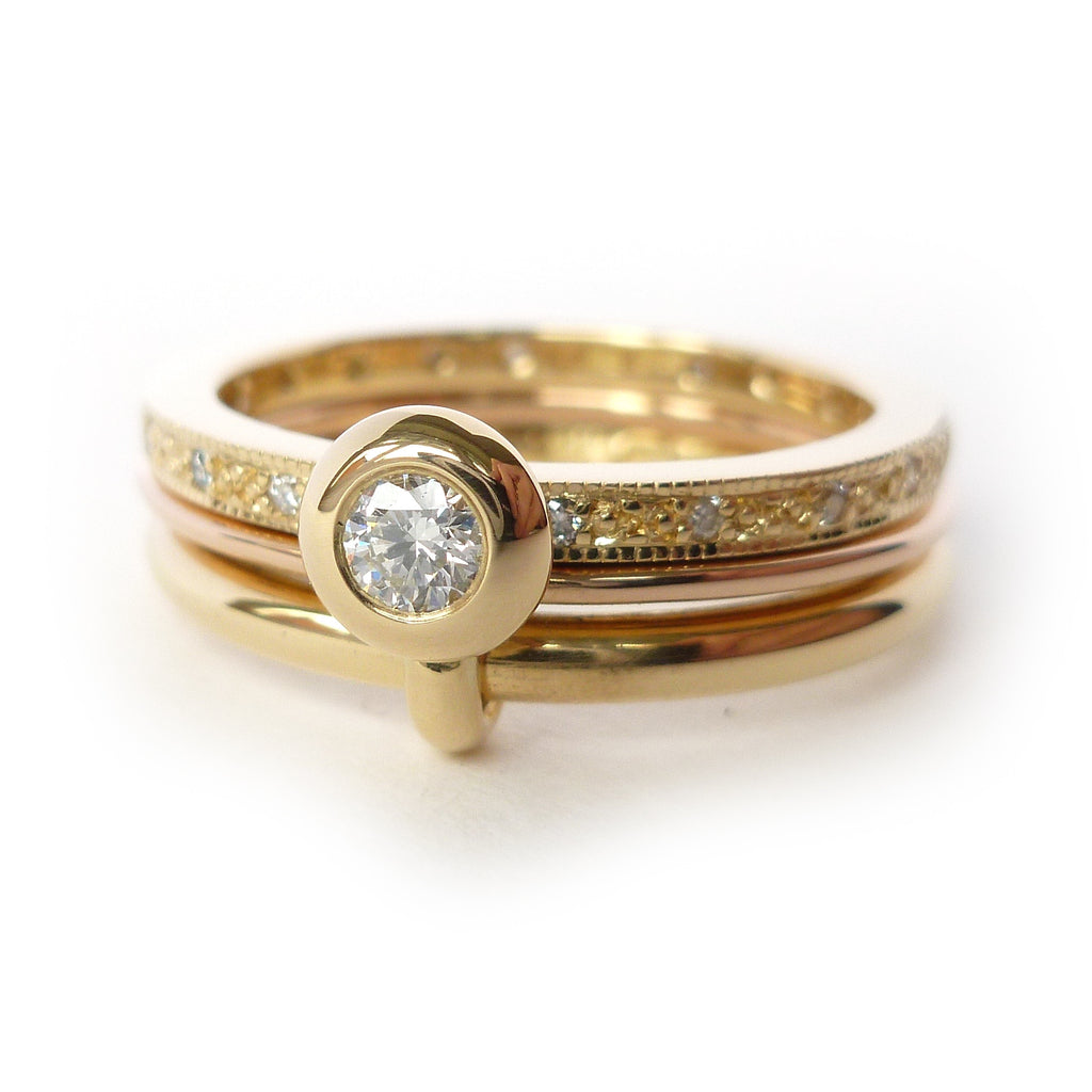 double band rose and yellow gold stacking ringset