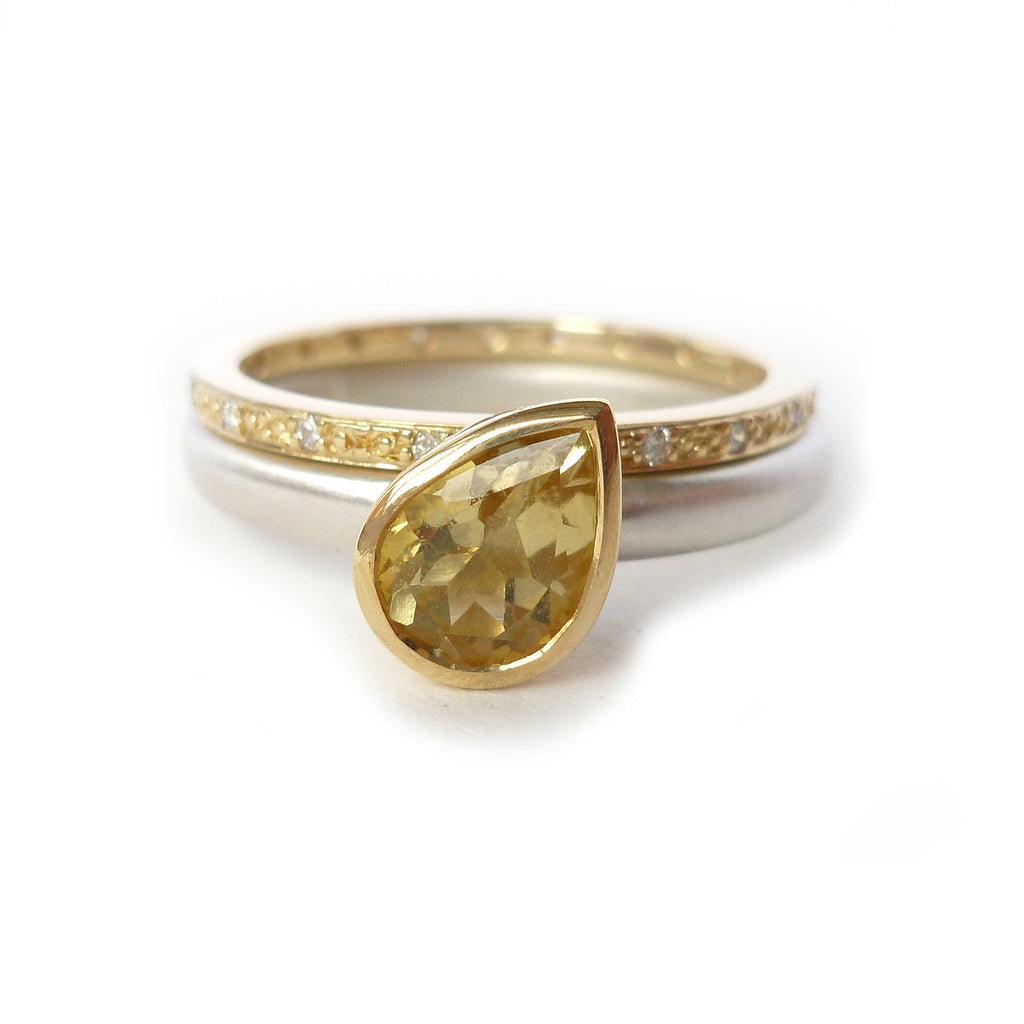 silver 18k gold and yellow sapphire ring nr12
