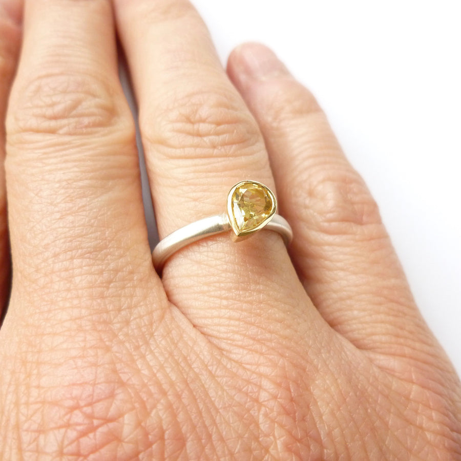 handmade modern yellow sapphire ring, by Uk designer and maker
