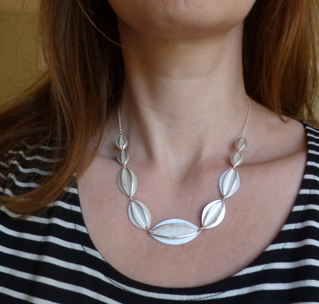 contemporary silver handmade statement necklace