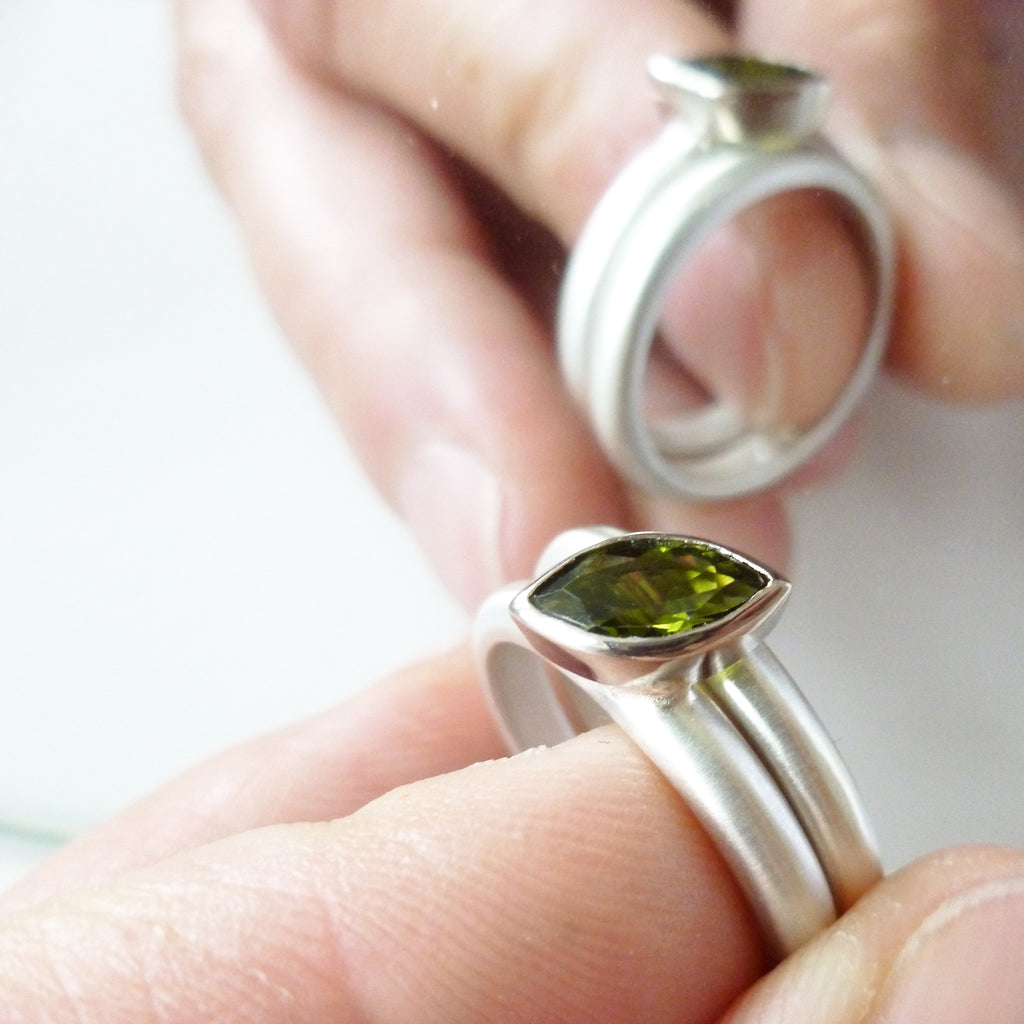 Silver and marquise green tourmaline ring (ra2gt)