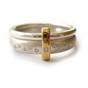 Modern unique and bespoke contemporary silver gold and diamond eternity style two band stacking ring by Sue Lane
