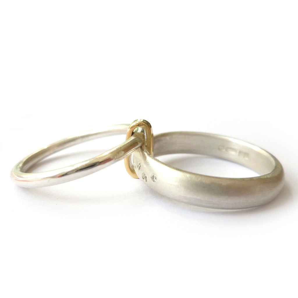 simple engagement ring in gold and silver