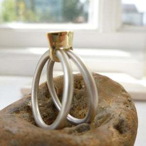 Simple gold and silver handmade ring
