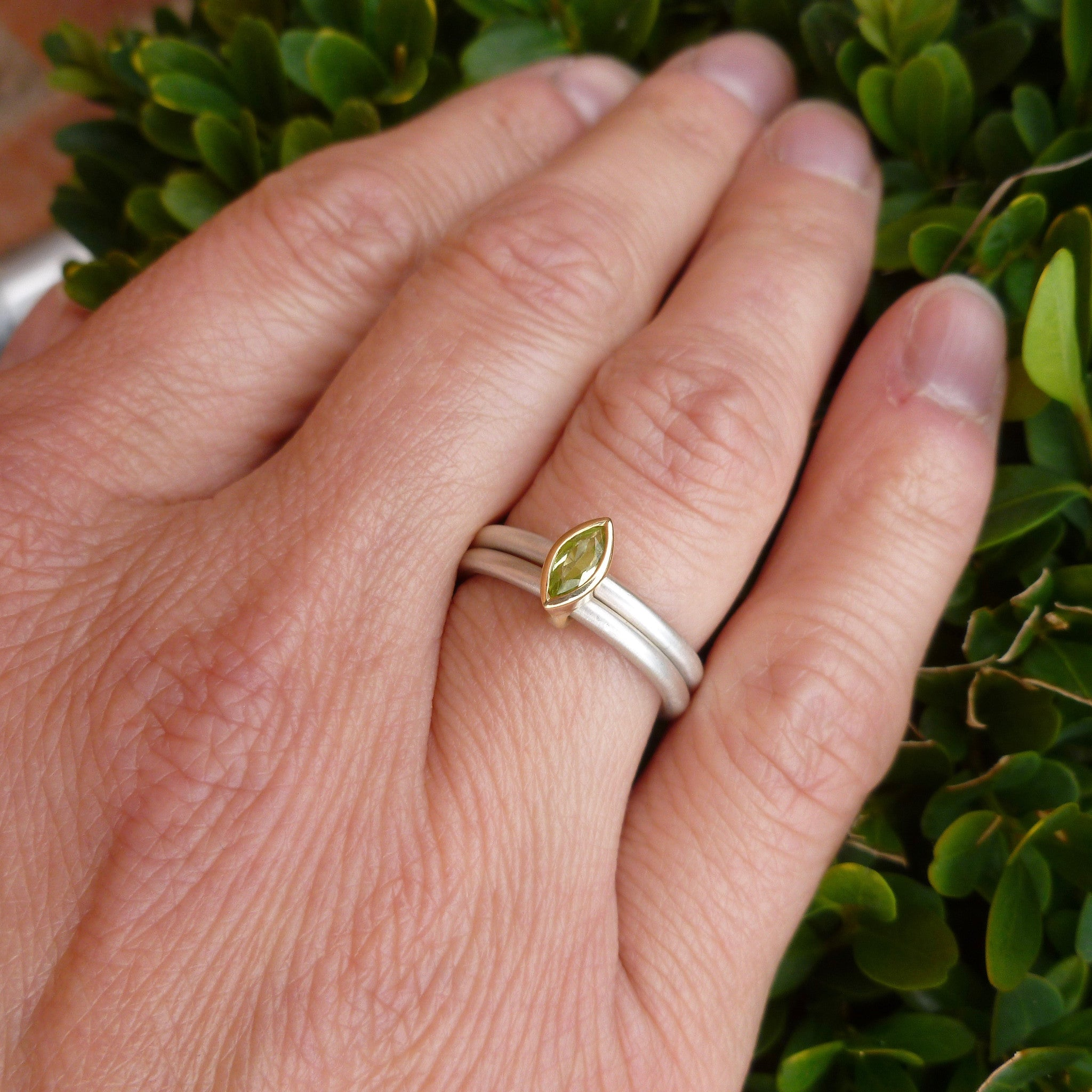 Silver & 18ct gold ring with peridot - contemporary, modern & unique